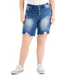 dollhouse trendy plus size ripped button-fly shorts