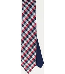 tommy hilfiger men's silk check tie red/navy/white -