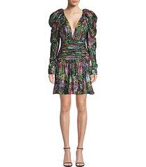 abigail puff sleeve floral mini dress