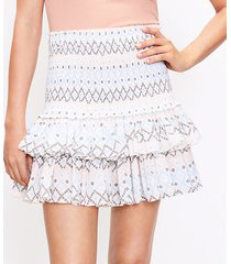 loft petite patchwork smocked pull on skirt