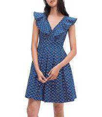 geometric pleated flare dress