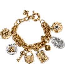 patricia nash two-tone travel-theme double-chain charm bracelet
