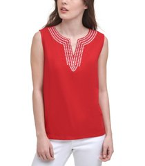 tommy hilfiger cotton embroidered tank top