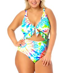 california waves trendy plus size tie-dyed cutout one-piece swimsuit, created for macy's women's swimsuit