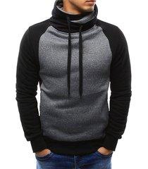 casual color spliced drawstring hoodie