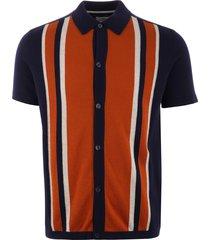 ben sherman button through mod polo shirt - navy 0054242