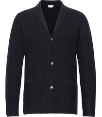 man jacket lapel gebreide trui cardigan blauw davida cashmere