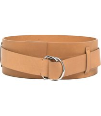federica tosi wide leather belt - brown