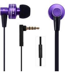 audífonos bluetooth manos libres inalámbricos, es-900i aislamiento de ruido auricular intra-auricular con cable de 1,2 m mic (morado)