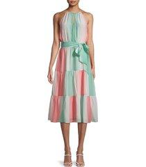 parker women's leonora silk midi dress - ombre stripe - size l