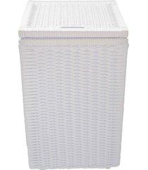 cesto roupa suja roupeiro fibra sintetica junco branco 40x40x57 - branco - feminino - dafiti