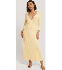 na-kd basic omlottklänning med knytning - yellow