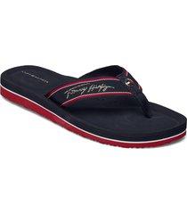 comfort footbed beach sandal shoes summer shoes flat sandals blå tommy hilfiger