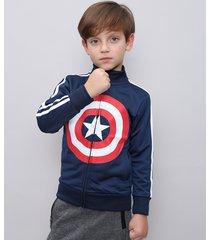 jaqueta infantil esportiva capitão américa com faixas laterais azul marinho
