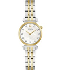 bulova women's classic regatta diamond-accent two-tone stainless steel bracelet watch 24mm