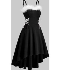 christmas faux fur insert lace up high low dress