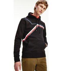 tommy hilfiger men's organic cotton split stripe hoodie black - xs