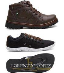 kit bota coturno + sapatênis + chinelo lorenzzo lopez masculino - masculino