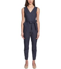 vince camuto belted faux-denim jumpsuit
