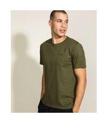 camiseta masculina básica com bolso manga curta gola careca verde militar