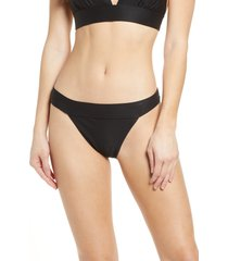 women's chelsea28 banded textured bikini bottoms, size medium - black