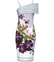 abito a fiori con scollo a barca (viola) - bodyflirt boutique