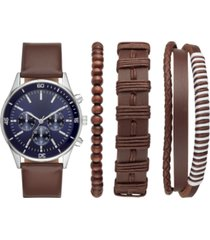folio men's brown vegan leather strap watch 43mm box set
