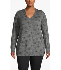 lane bryant women's active floral hooded top 26/28 heather gray