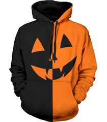 halloween pumpkin two tone panel pullover hoodie