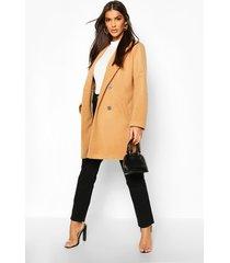 oversized boyfriend wool look coat, camel