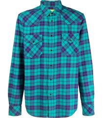 diesel green label flannel western shirt - blue