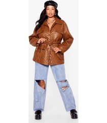womens plus size faux leather belted jacket - tan