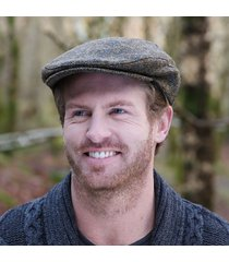 irish wool trinity flat cap brown blue small