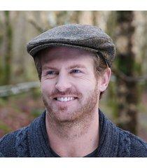 irish wool trinity flat cap brown blue small