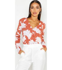 floral printed wrap front blouse, terracotta