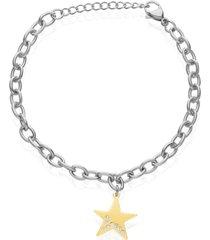 bracciale con charm stella in acciaio bicolore e strass per donna