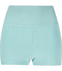 ami amalia ribbed-knit merino wool shorts - blue