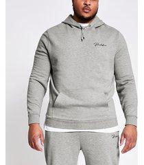 river island mens big and tall prolific grey slim fit hoodie