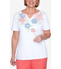 alfred dunner short sleeve embroidered floral yoke knit top