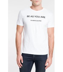 camiseta masculina be as you are branca calvin klein jeans - p