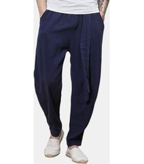 harem pantaloni in cotone-lino