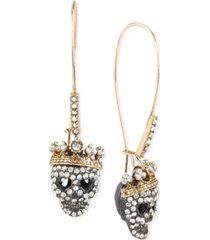 betsey johnson two-tone pave skull long drop earrings
