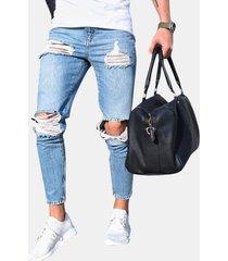 strappato jeans a vita bassa skinny lavato a vita bassa elegante per uomo