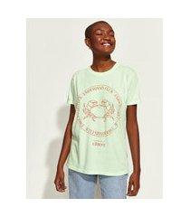 t-shirt feminina mindset obvious signos câncer manga curta decote redondo verde claro