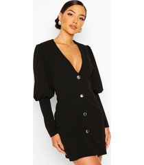 puff sleeve plunge button front blazer, black