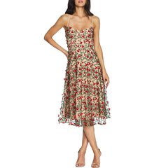 women's dress the population janice embroidered fit & flare dress