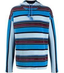 marni striped velour hoodie - blue