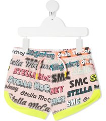 stella mccartney kids jersey shorts with allover multicolor logo print