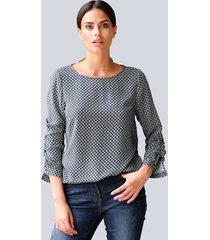 blouse alba moda zwart::beige::offwhite