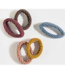 sylvia textured fabric hair tie pack - multi